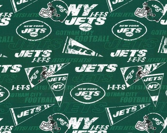 NY Jets Fabric By The Cut | DIY Face Mask | 100% Cotton | NFL Football | Green | White | Flags | Fat Quarter | 1/4 Yard | 1/2 Yard | 1 Yard