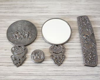 Vintage Danish 4 Piece Vanity Set Ornate Silver Plate Floral Embossed 2 Handheld Purse Mirrors Comb & Pillbox Hans Jensen Made in Denmark