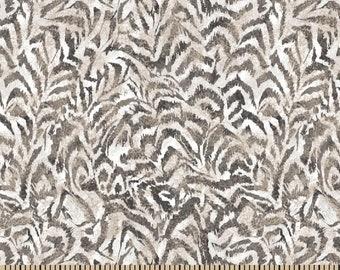 Ruffled Feathers Fabric By The Cut | Boho DIY Face Mask | 100% Cotton | Beige | Brown | White | Fat Quarter | 1/4 Yard | 1/2 Yard | 1 Yard