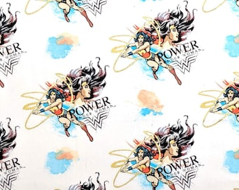 Wonder Woman Power Fabric By The Yard | DIY Face Mask | Cotton | Gold |Metallic | Fat Quarter | 1/4 Yard | 1/2 Yard | 3/4 Yard | 1 Yard