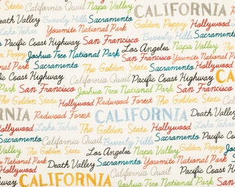 California Words Fabric By The Yard | Cotton DIY Face Mask | San Francisco | Los Angeles | West Coast | Fat Quarter | 1/2 Yard | 1 Yard