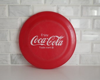 Vintage Coca Cola Plastic Frisbee Red & White Advertising Material Toy Classic Memorabilia Enjoy Coca-Cola Trade-mark Made in the USA