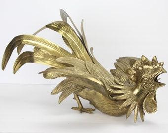 Vintage Large Brass Rooster