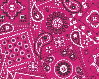 Magenta Pink Bandana Fabric By The Cut | 100% Cotton | DIY Face Mask | White | Fat Quarter | 1/4 Yard | 1/2 Yard | 1 Yard