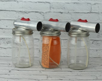 Vintage Mason Jar Sprayer Set Of 3 Spray Gun Unique Item Clear Glass Container Metal Lid & Sprayer Pint Size Jar Sprayable Paint or Cleaning