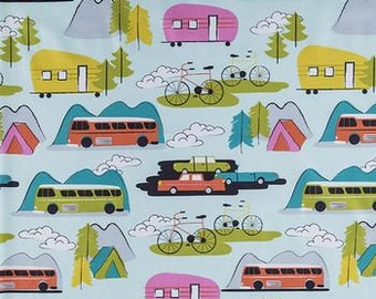 Campsite Fabric By The Cut | DIY Face Mask | 100% Cotton | Boho | Airstream | Vintage Cars | Fat Quarter | 1/4 Yard | 1/2 Yard | 1 Yard