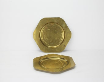 Vintage Solid Brass Candle Trays | Set of 2 | Planter Base | Plant | Water Catch Bottom | Patina | Farmhouse Decor | Home Decorating Ideas