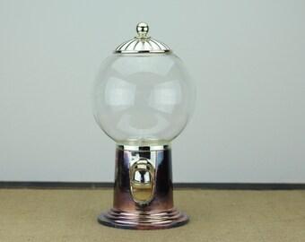 Vintage Godinger Nickel Plated Gumball Bubblegum Candy Machine Dispenser Glass Globe Party Decor Retro Nostalgic Peanut Silver