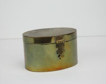 Vintage Brass Trinket Box | Jewelry Storage | Lockable