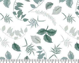 Antique Rose Leaves Fabric By The Yard | DIY Face Mask | 100% Cotton | Leaf | Green | White | Fat Quarter | 1/4 Yard | 1/2 Yard | | 3/4 Yard