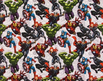 Marvel Avengers Unite Fabric By The Cut | DIY Face Mask | Cotton | Hulk | Black Panther | Thor | Captain America | Fat Quarter | 1 Yard