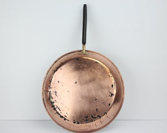 Vintage Culinox Copper Frying Pan | Handle | Tin Lined | Brass | Made in Switzerland | Saute Pan |  Farmhouse Kitchen Decor | Cookware