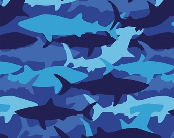 Blue Camo Sharks Fabric By The Cut | DIY Face Mask | 100% Cotton | Camouflage | Ocean | Beach | Fat Quarter | 1/4 Yard | 1/2 Yard | 1 Yard