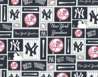 New York Yankees Block Fabric By The Yard | Cotton DIY Face Mask | MLB Baseball | Blue | White | Red | Fat Quarter | 1/2 Yard | 1 Yard