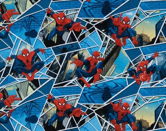 Spiderman Fabric By The Cut | DIY Face Mask | 100% Cotton |  Marvel Avengers | Spider-Man | Comic Book Character | Superhero | Fat Quarters