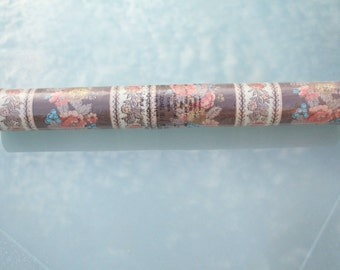 Vintage F. Schumacher Co Wallpaper Roll Brown Pink Blue Beige Floral Striped Pattern 2822B Run 4 New York NY 72 Square Feet