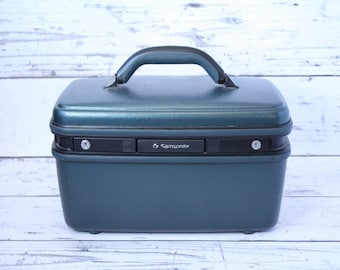 Vintage Dark Green Samsonite Travel Train Case Hard Luggage Tilting Mirror Plastic Tray Zippered Fabric Pouch Grey Interior Suitcase