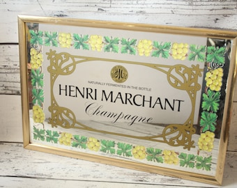 Vintage Henri Marchant Mirror Gold Framed Champagne Bar Advertising Graphics Plaque Frame Collectible Wall Sign Winery New York Grapes