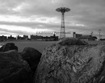 Brooklyn Parachute Jump Coney Island Beach White Clouds In The Sky Photography Black & White Photo Images New York NYC Photograph