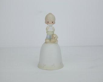 Vintage Precious Moments Bell | God Understands | Report Card | Boy | Dog | 1980 | Enesco | Jonathan & David | Porcelain Figure | Statue