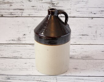 Vintage Robinson Clay Products Stoneware Jug Two Tone Painted Glazed Pottery Kitchen Brown Beige Farmhouse Moonshine Liquor Decanter Akron O