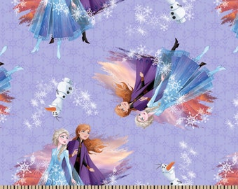 Disney's Frozen Destiny Awaits Fabric By The Cut | DIY Face Mask | 100% Cotton | Elsa | Anna | Olaf | Fat Quarter | 1/2 Yard | 1 Yard