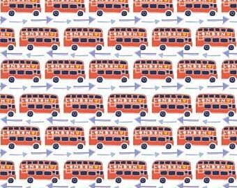 Emma & Mila London Calling Bus Fabric By The Cut | DIY Face Mask | 100% Cotton | Blue | Orange | White | Fat Quarter | 1/2 Yard | 1 Yard