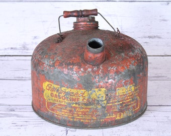 Eagle Gas Can Red & Yellow Vintage Galvanized Heavy Gauge 2 1/2 Gallon Capacity Oil Holder Wood Handle Patina Petroliana Gasoline