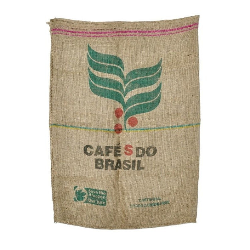 Vintage Used Burlap Coffee Bags 100% Jute Sacks Cafe Brasil image 0