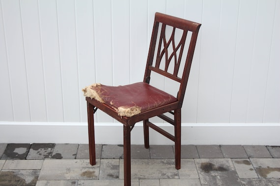 Brilliant Vintage Leg O Matic Chair Burgundy Vinyl Seat Cushion Wood Frame Compact Folding Chair Made In Usa Airstream Travel Trailer Small Dining Inzonedesignstudio Interior Chair Design Inzonedesignstudiocom