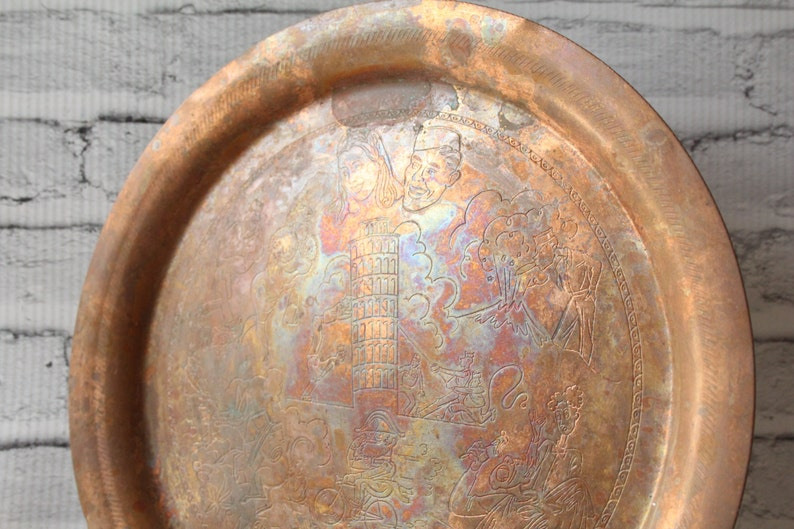 Antiques Asian Antiques Vintage Asian Brass Tray With Nice Engraving… Great For Mints Or Candy...
