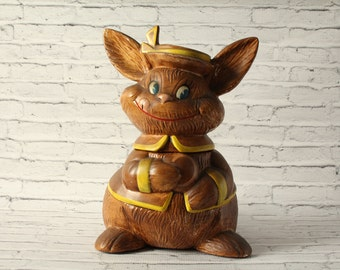 Vintage Bunny Rabbit Cookie Jar Brown Painted Pottery Removable Cap Kitchen Decor Snacks Possibly Made by Treasure Craft in the USA Easter