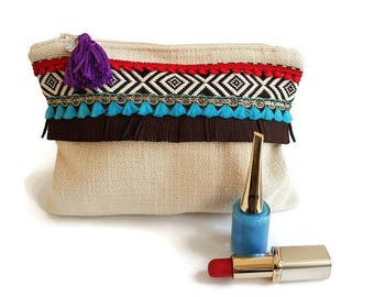 Make up bag Ibizastijl, makeup pouch for storing your makeup and brushes, use as pouch, storage pouch, clutch, beige pouch
