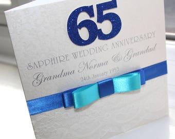 Personalised Handmade Sapphire 65th Wedding Anniversary Card By Charlotte Elisabeth A020