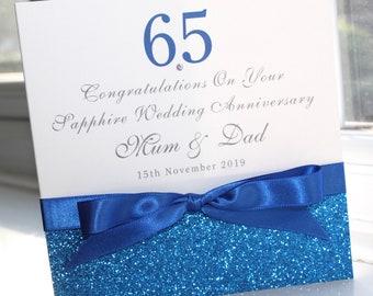 Personalised Handmade Sapphire Blue 65th Wedding Anniversary Card Glitter By Charlotte Elisabeth A004