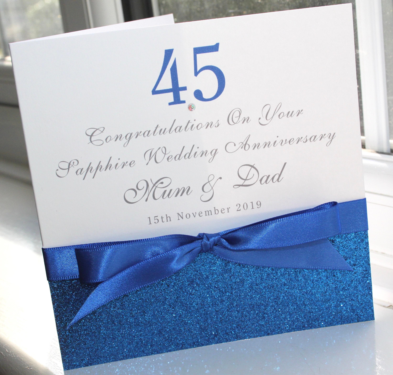 Personalised Handmade Sapphire Wedding Anniversary Card Glitter 45 Years
