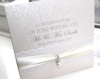 Personalised Handmade Wedding Day Card Pearl Charm Lace by Charlotte Elisabeth W050