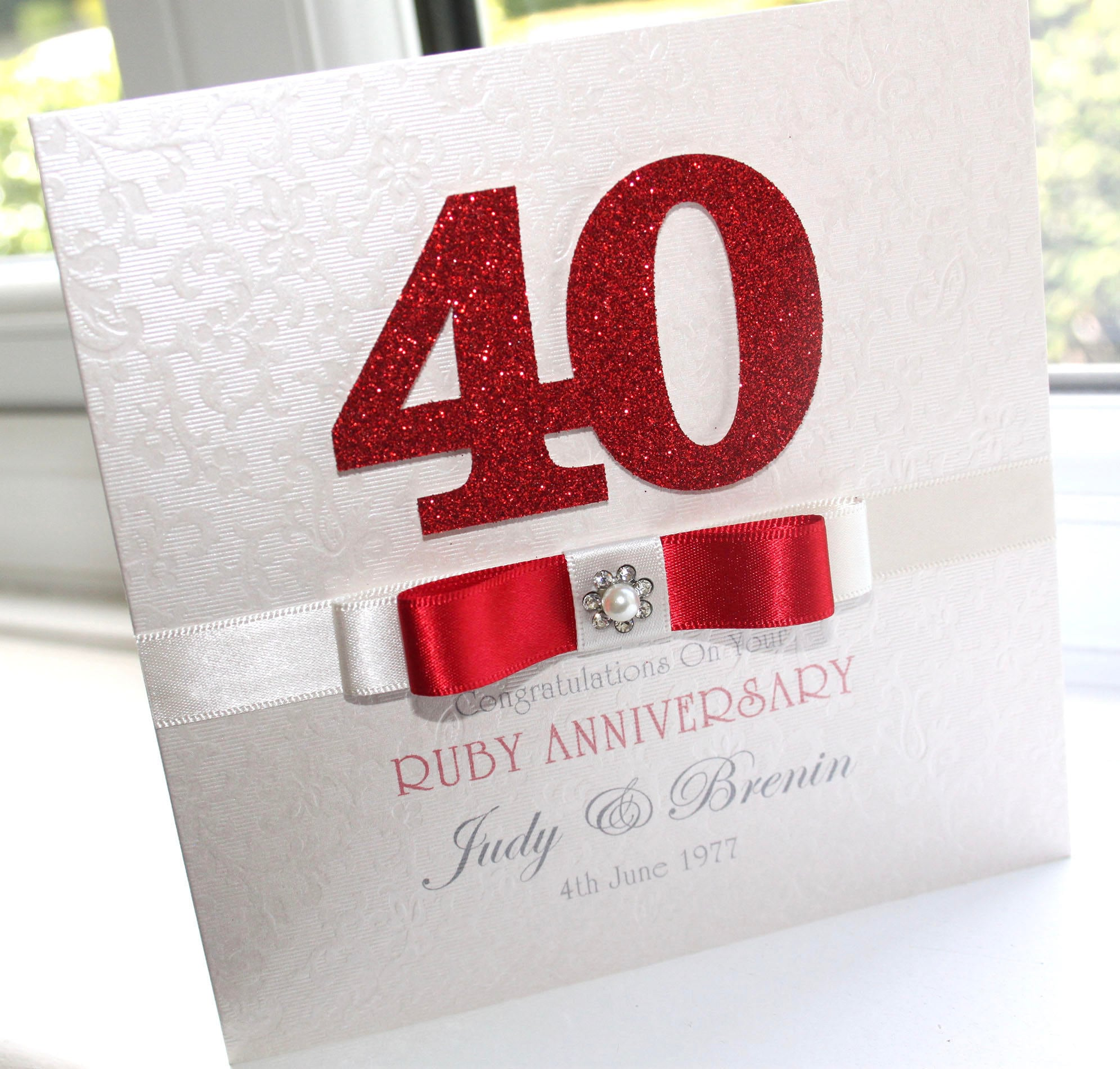personalised handmade ruby 40th wedding anniversary card. Black Bedroom Furniture Sets. Home Design Ideas