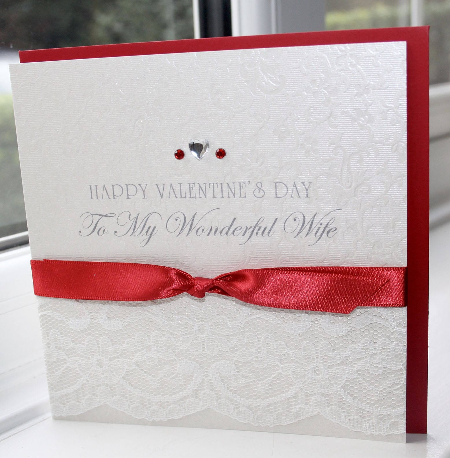 Personalised Handmade Valentines Day Card Classic Ivory Lace Red ...