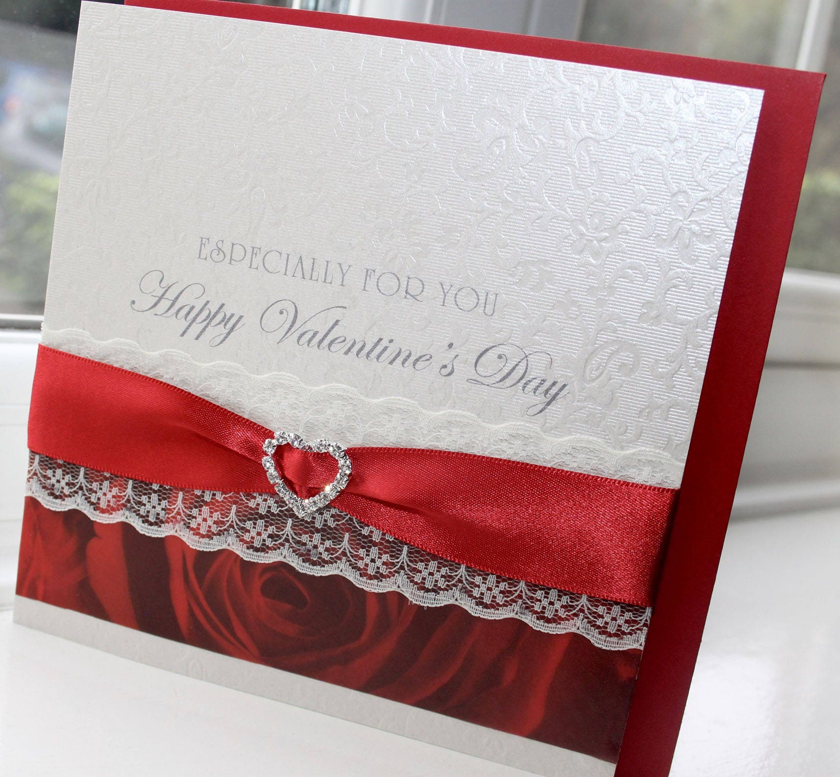 Personalised Handmade Valentines Day Card Red Rose Vellum Paper