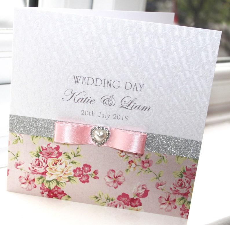 Personalised Handmade Wedding Card Heart Charm Lace by Charlotte Elisabeth W023