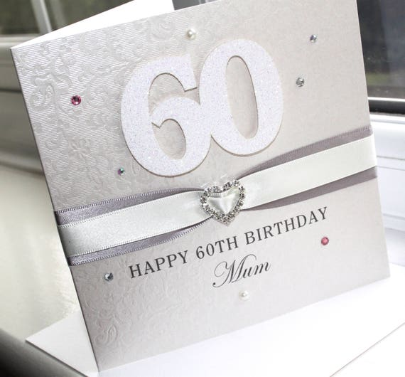 Personalised Handmade 60th Birthday Glitter Card White