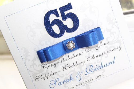 Personalised Handmade Sapphire 65th Anniversary Card by Charlotte Elisabeth A021