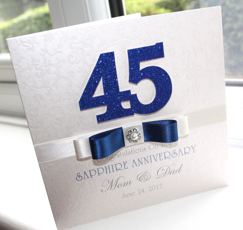 personalised handmade sapphire 45th wedding anniversary card by