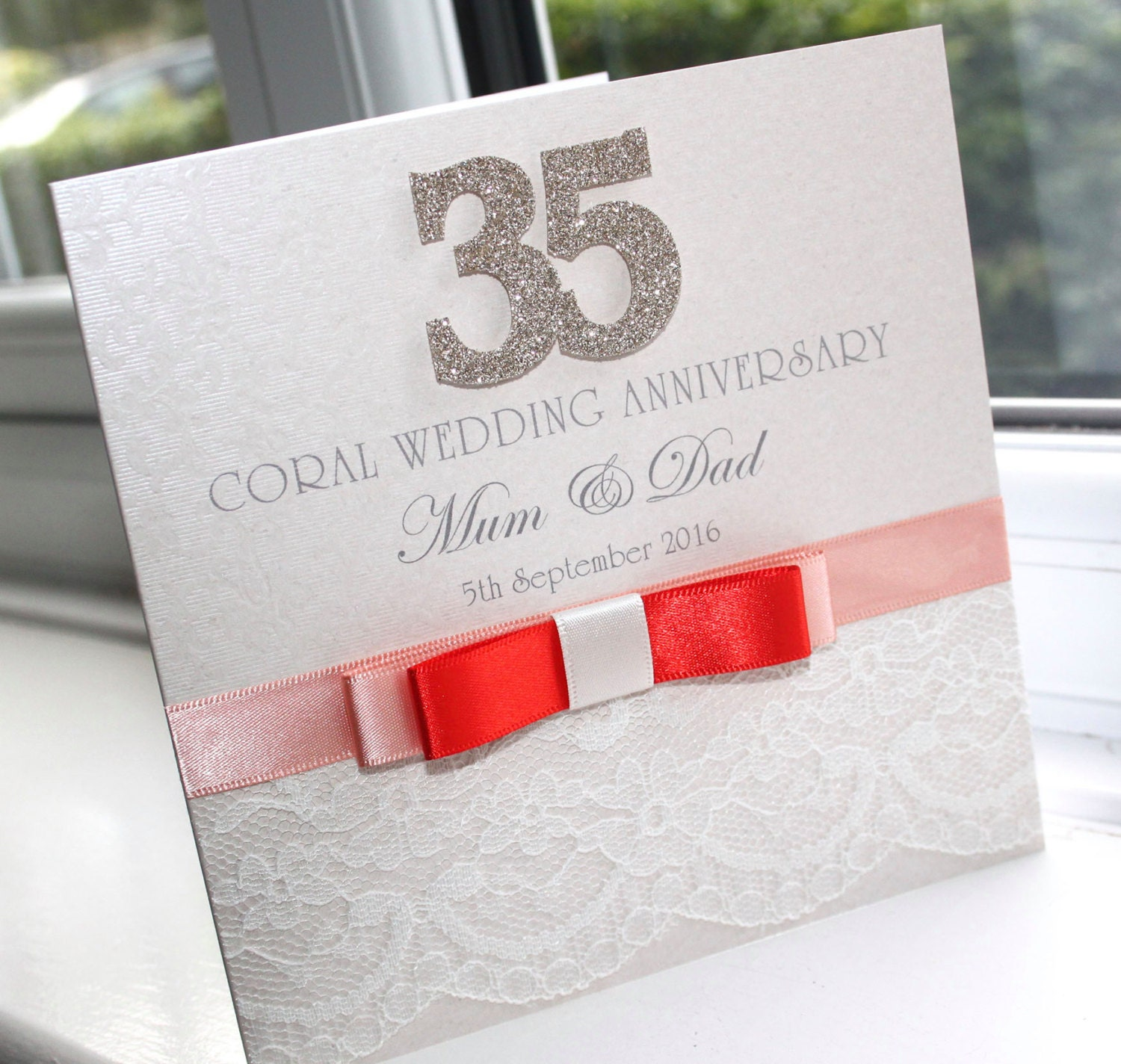 personalised handmade coral 35th wedding anniversary card by