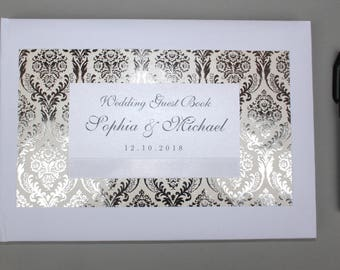 Personalised Handmade Guest Book in White or Ivory - Wedding, Birthday, Anniversary, Christening - Silver Damask - Charlotte Elisabeth GB020