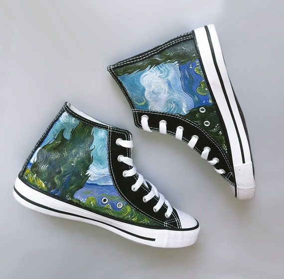 928bd836417 Painted sneakers  Cypresses van Gogh theme hand painted