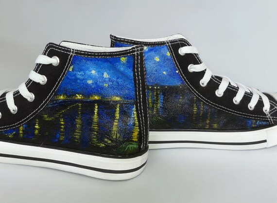 6a126d3dd96 Painted sneakers  Starry Night Over the Rhone van Gogh theme