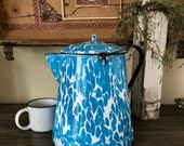 Large Vintage Blue and White Enamelware Pot With Handle Farmhouse Decor Collectible Enamelware