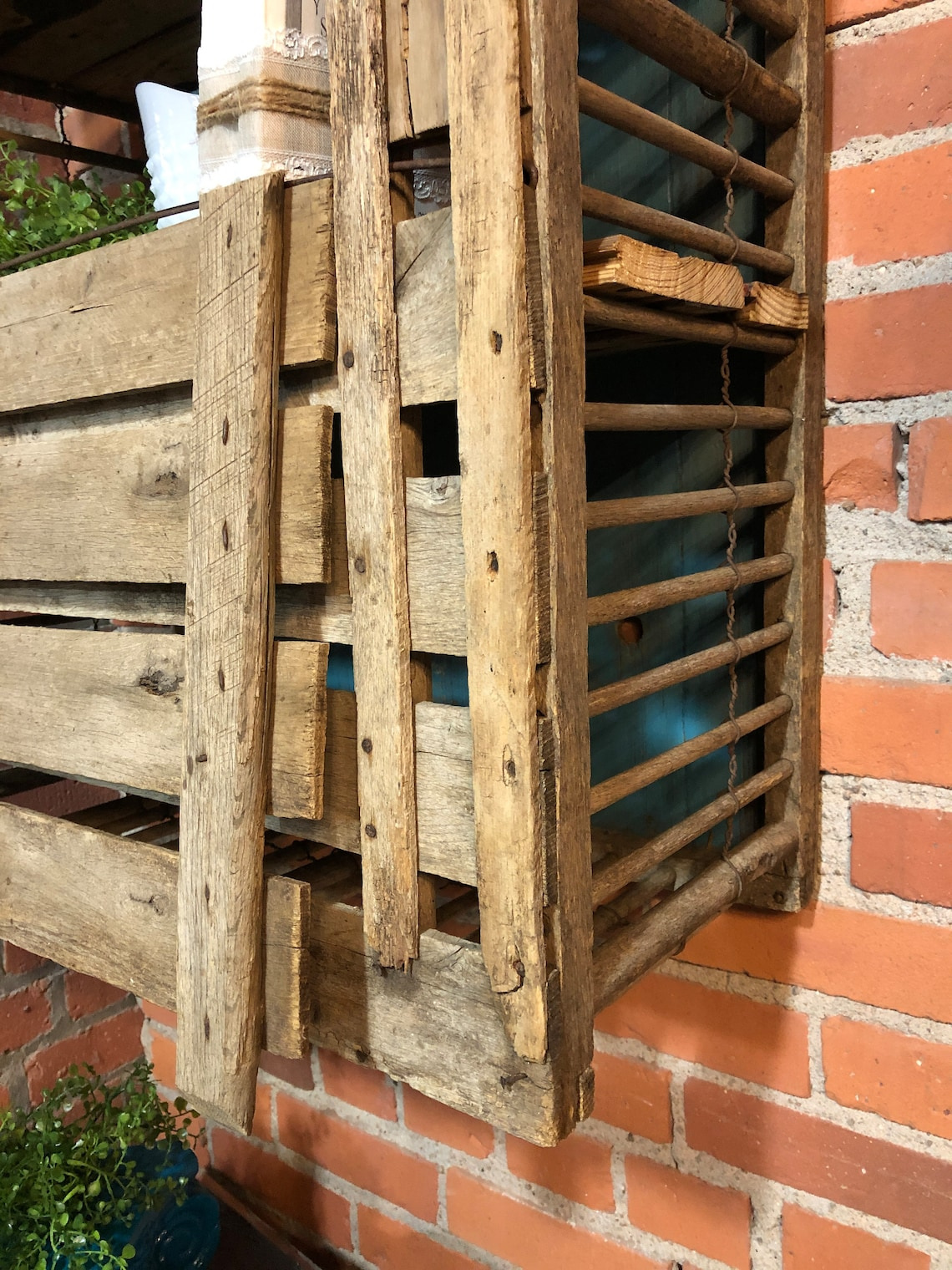 Primitive Wood Chicken Coop Wall Shelf